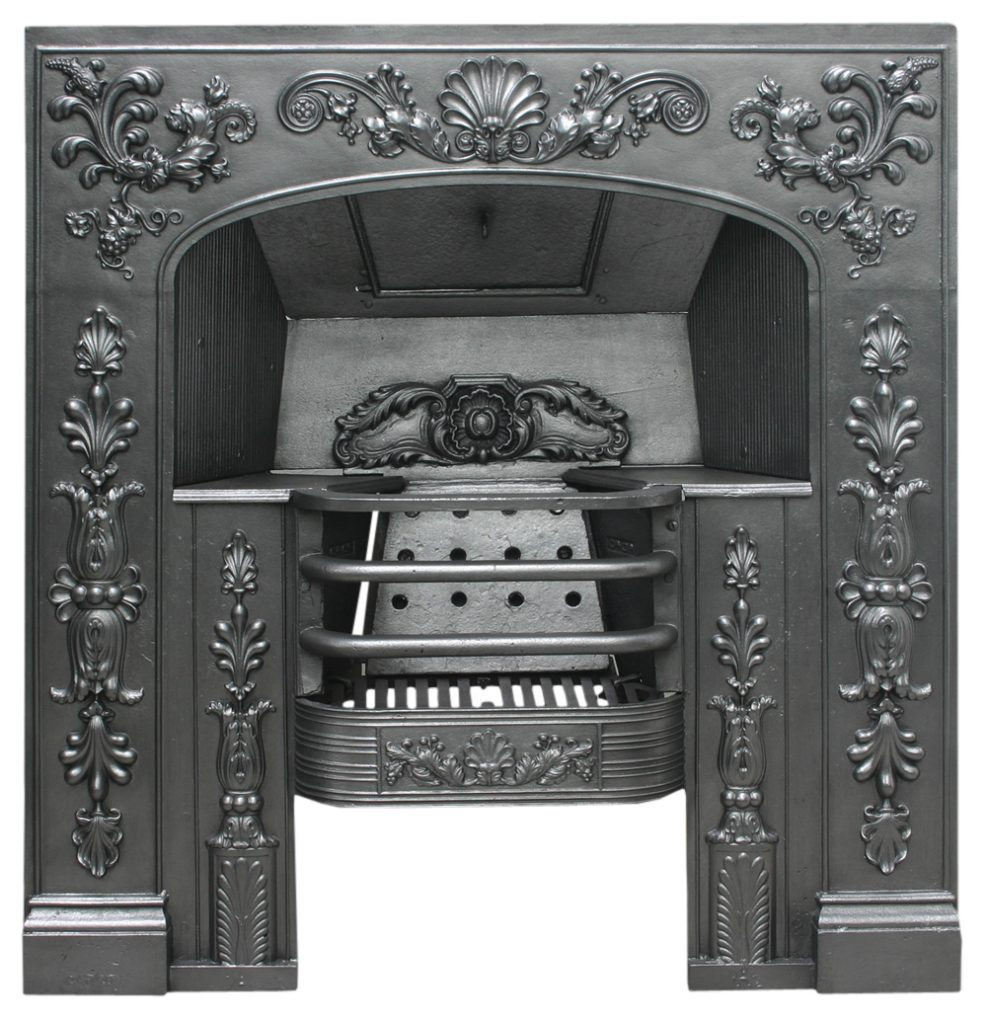 Antique Late Georgian cast iron hob register grate-0