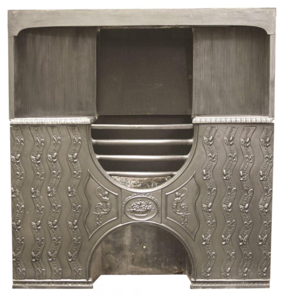 Antique Edwardian cast iron hob register grate. -0