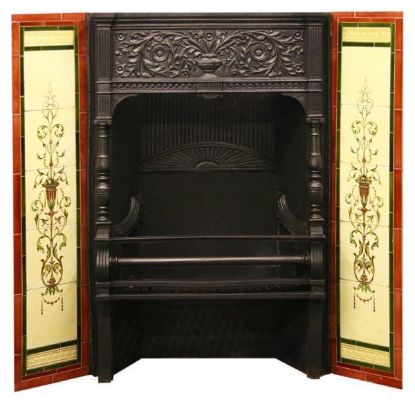 Antique Victorian ornate cast iron fire grate-0