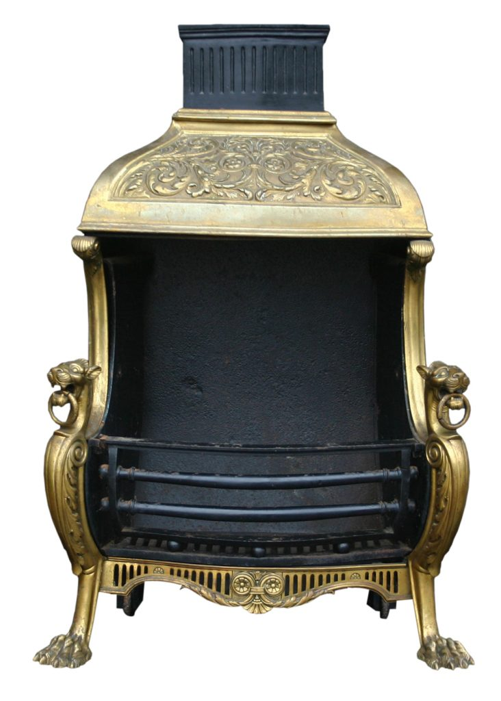 Mid Victorian brass canopied dog grate in the Regency style.-0