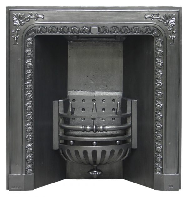 Antique Carron Victorian cast iron fireplace grate-0
