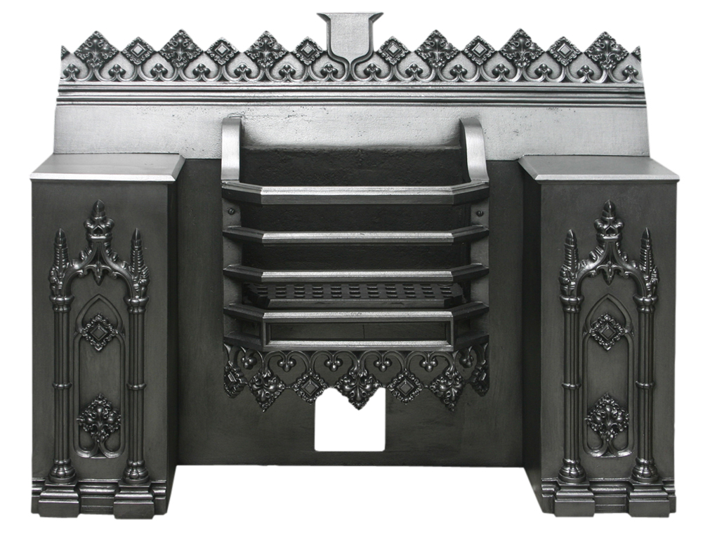 Antique Georgian cast iron hob grate in the gothic manner-0