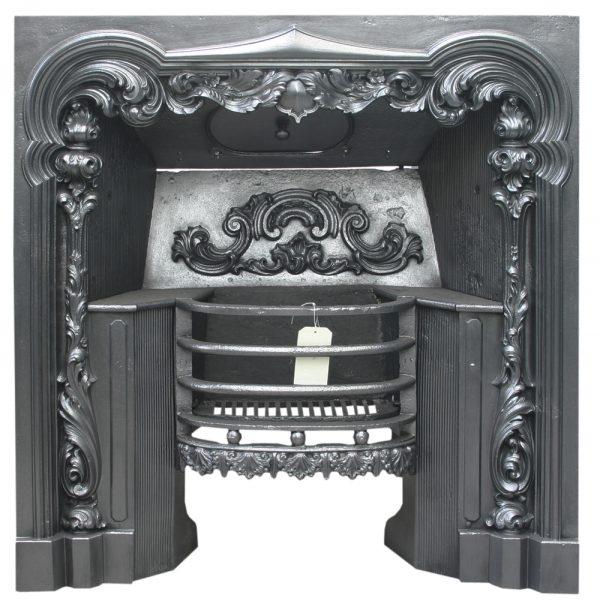 Antique William IV 19th century cast iron Rococo hob grate-0
