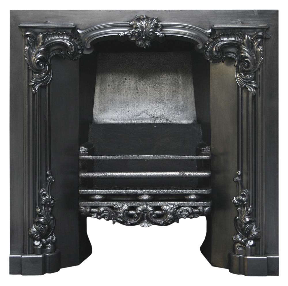 Antique Rococo Georgian cast iron register grate-0