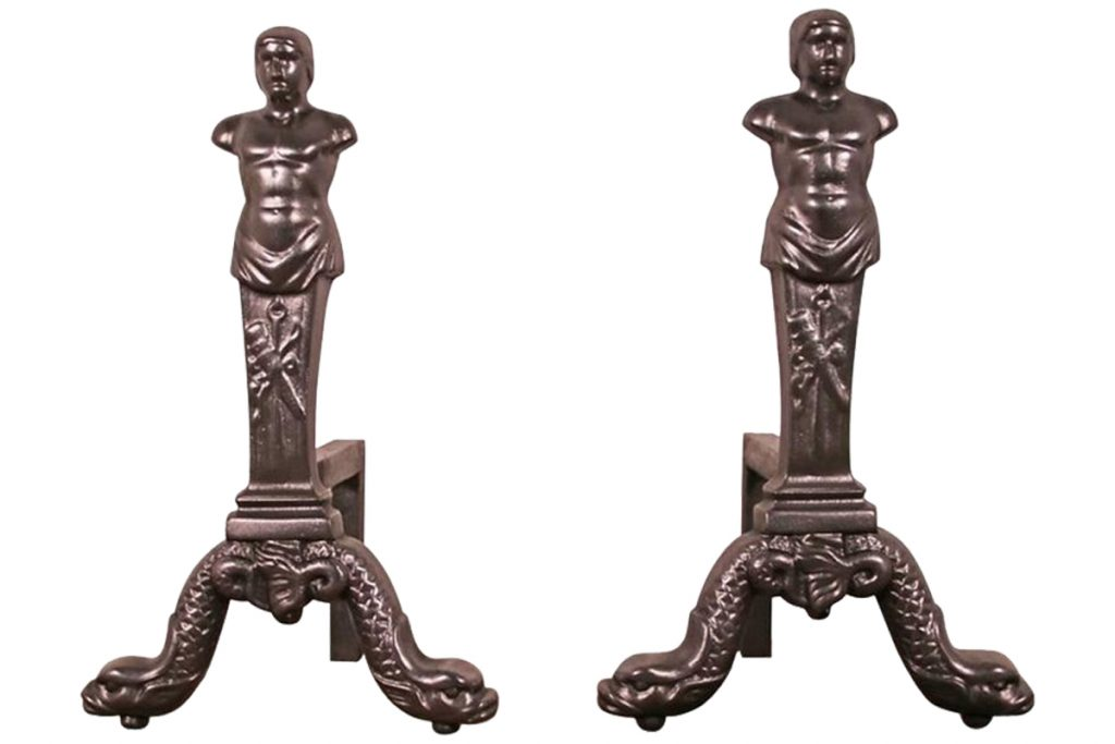 Pair of reclaimed neo-classical andirons-0