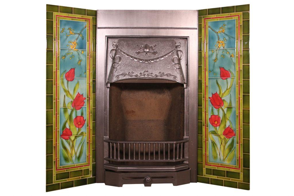 Antique Edwardian Art Nouveau cast iron grate-0