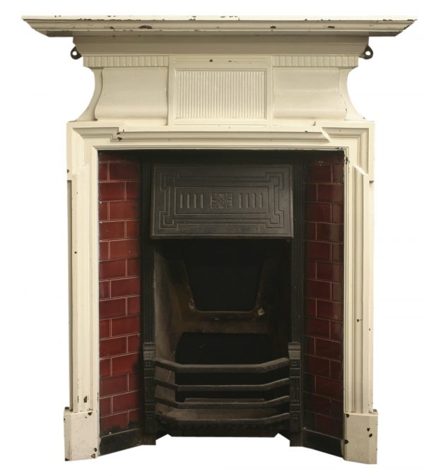 Antique Edwardian cast iron fireplace-0