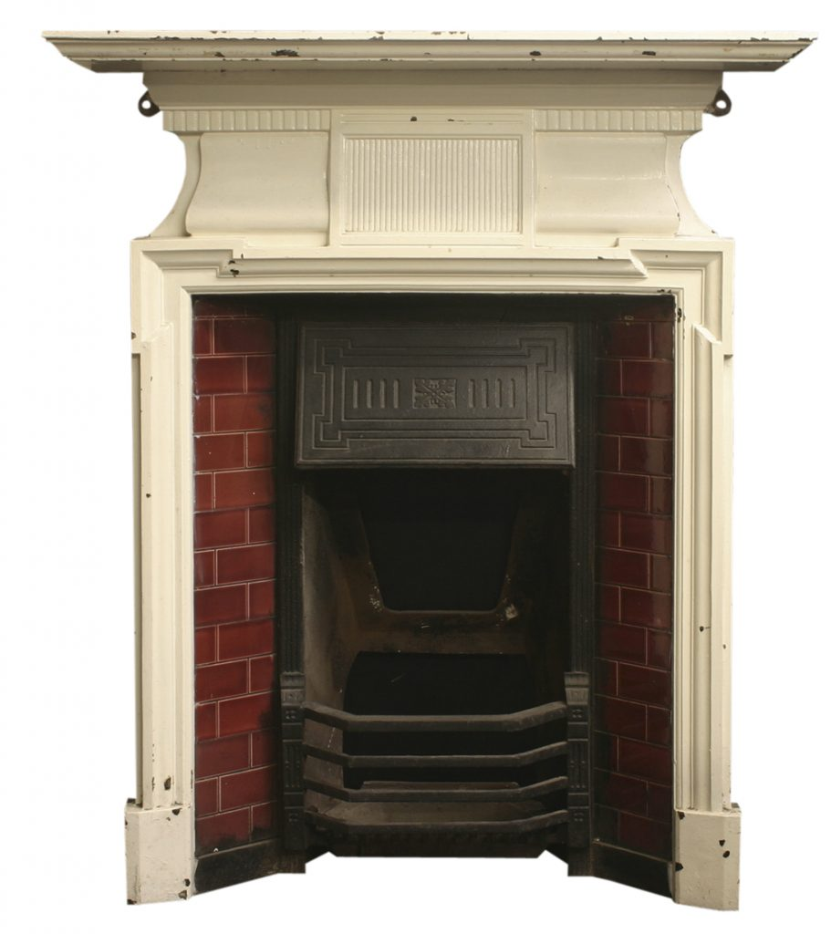 Antique Edwardian cast iron fireplace-0