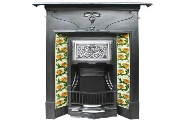 Reclaimed Edwardian Art Nouveau Combination fireplace -0