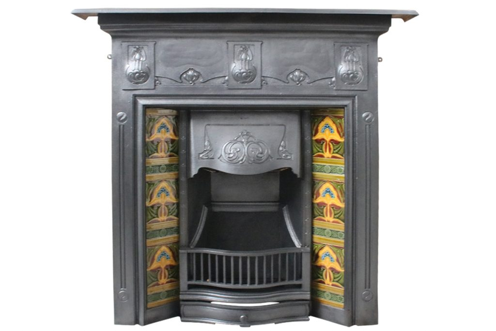 Antique Edwardian Art Nouveau cast iron all in one fireplace-0