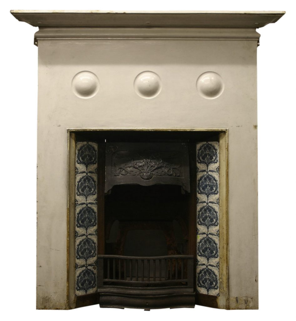 Antique cast iron Art Nouveau fireplace-0