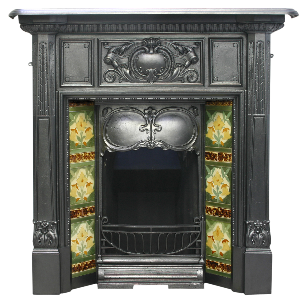 Antique Art Nouveau Edwardian cast iron fireplace-0