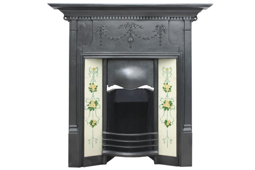 Large antique Edwardian cast iron combination fireplace-0