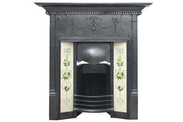 Large antique Edwardian cast iron combination fireplace-0