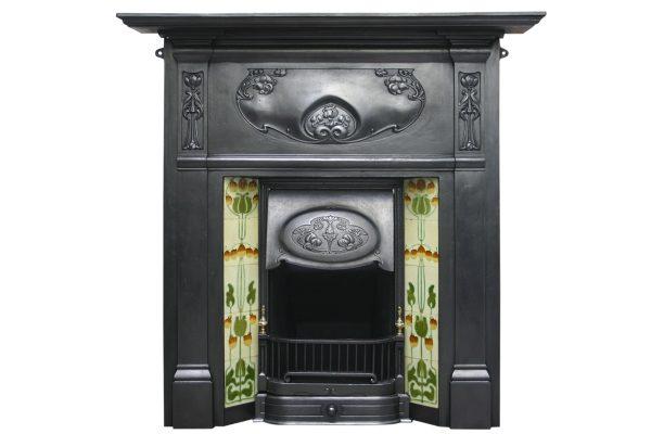 Large antique Edwardian Art Nouveau cast iron Combination fireplace-0