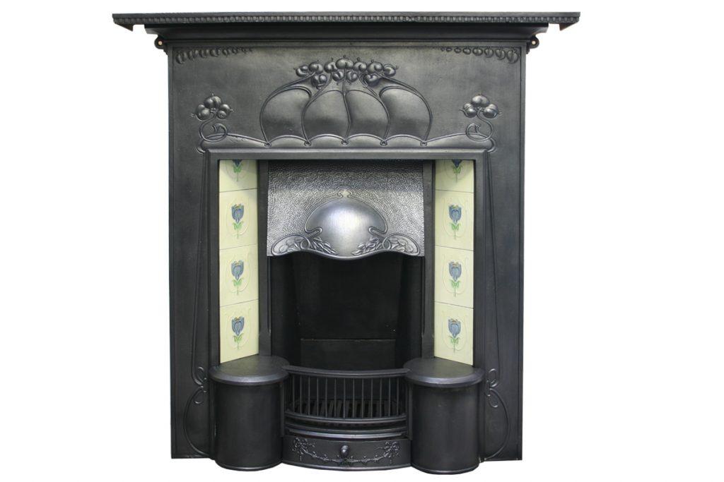 Large and unusual Edwardian Art Nouveau fireplace-0