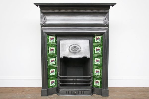 Antique late Victorian cast iron and tiled combination fireplace-0