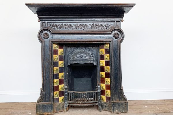 reclaimed late Victorian cast iron and tiled combination fireplace.-0
