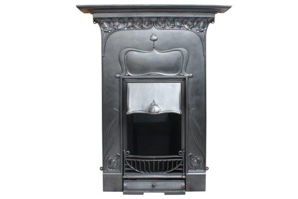 antique Edwardian Art Nouveau iron combination grate-0