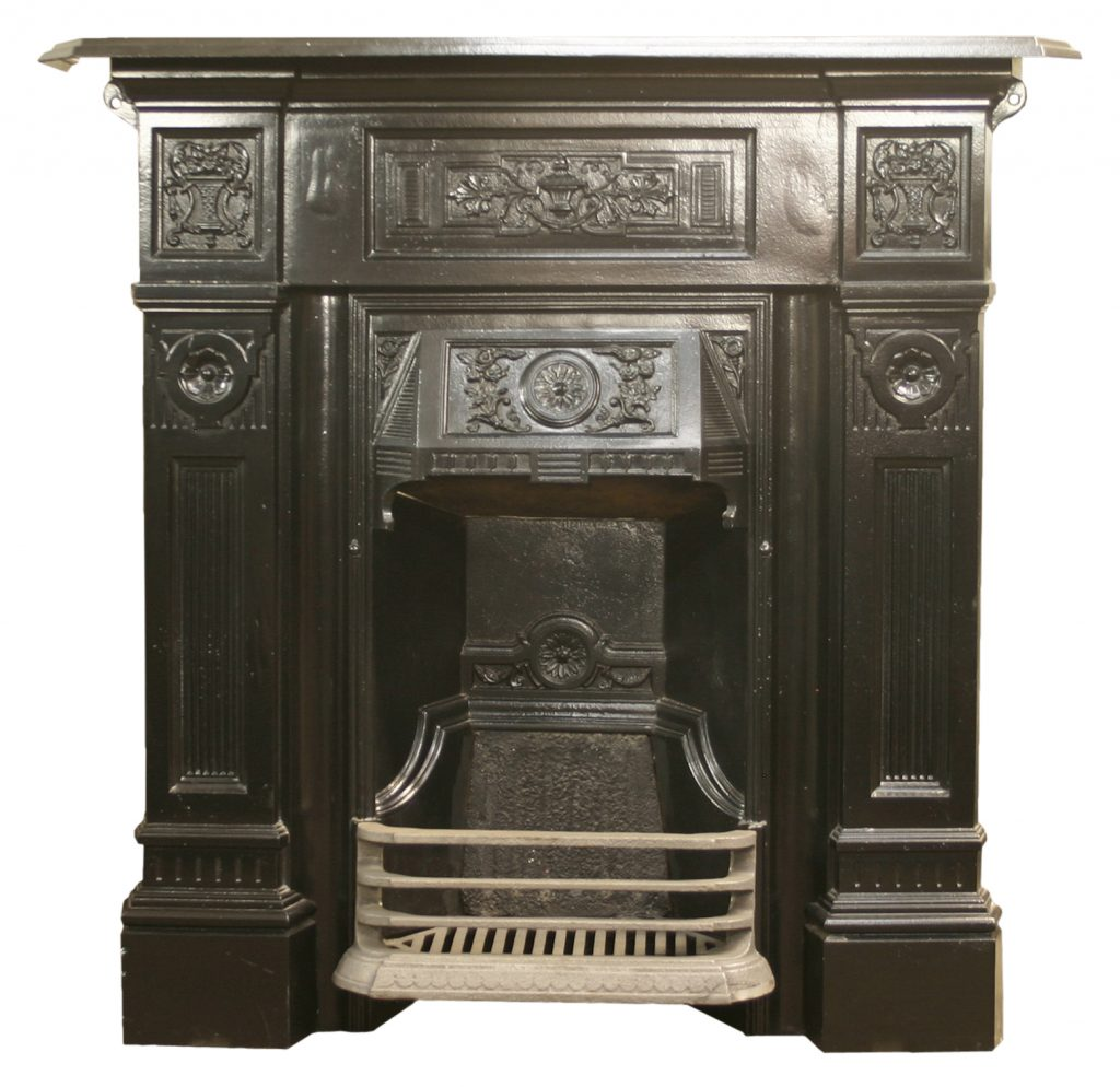 Antique Late Victorian cast iron bedroom fireplace. -0