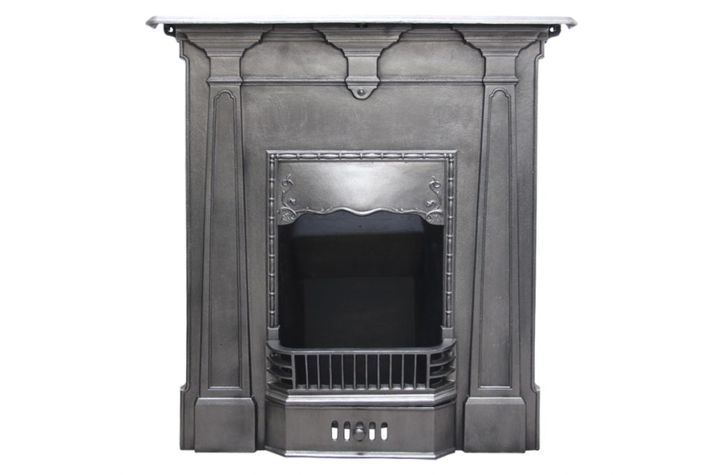 Antique Edwardian cast iron bedroom fireplace. -0