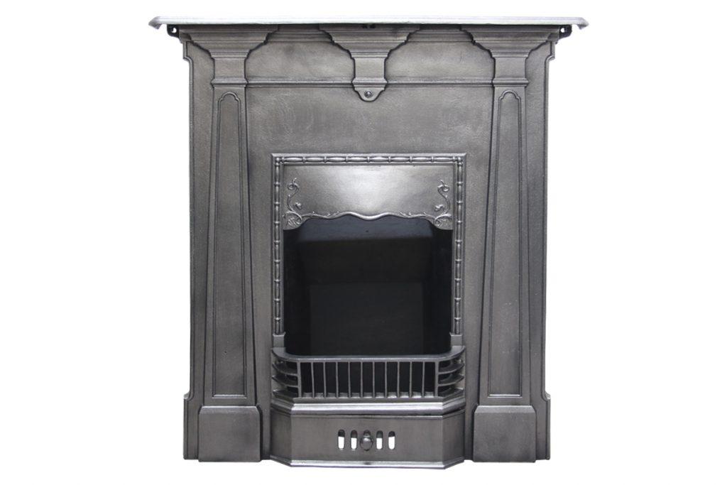 Antique Edwardian cast iron bedroom fireplace. -0