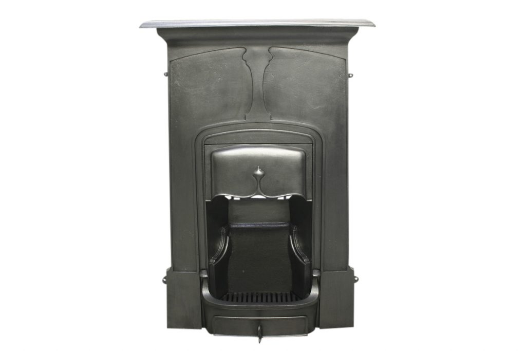 Tall Antique Edwardian Art Nouveau cast iron combination fireplace-0