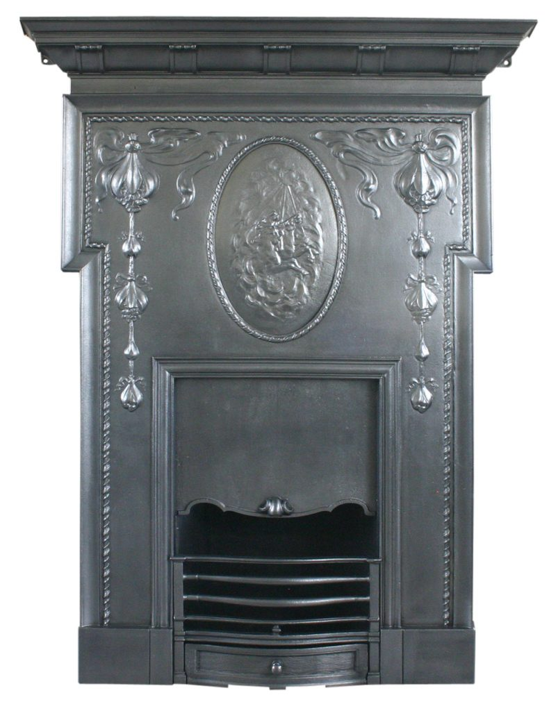Antique cast iron Edwardain Art Nouveau combination fireplace with horses from the Camargue-0