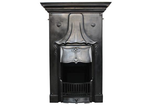 Antique Art Nouveau Edwardain cast iron combination grate-0
