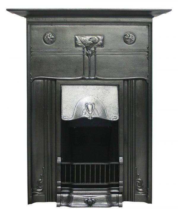 Reclaimed Edwardian Art Nouveau cast iron combination fireplace-0