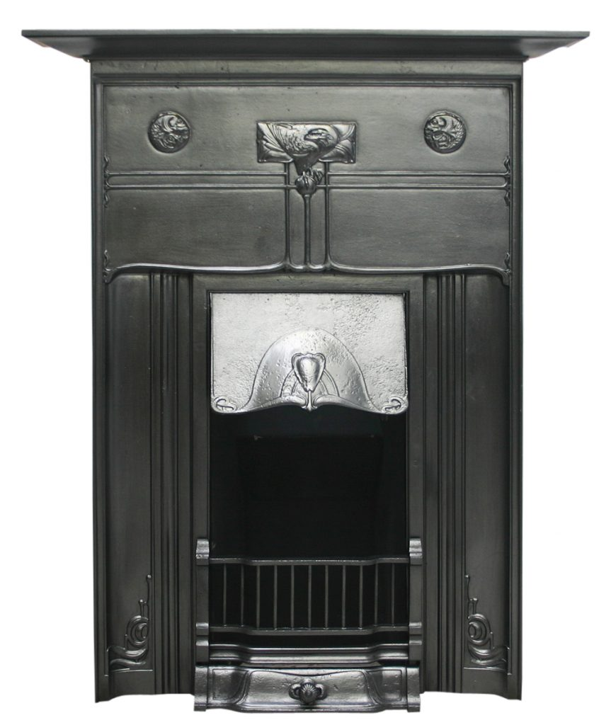 Reclaimed Edwardian Art Nouveau cast iron combination fireplace-0