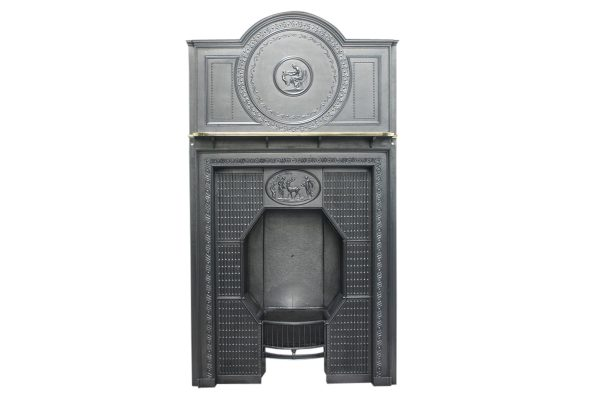 Unusual and large Edwardian cast iron combination grate-0