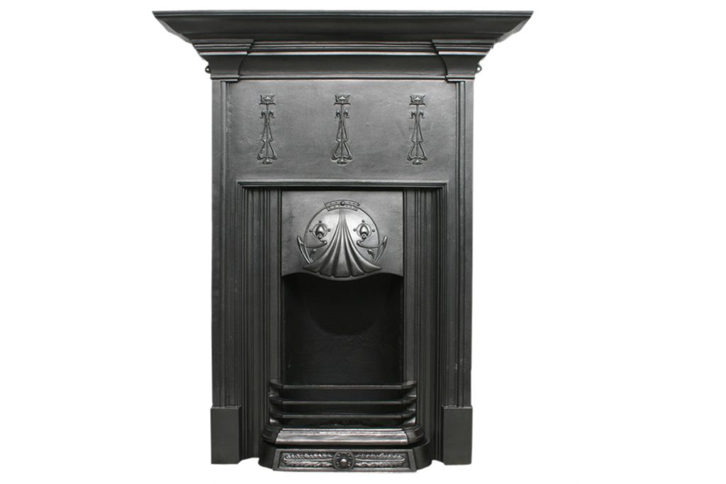 Reclaimed Edwardian Art Nouveau cast iron fireplace-0