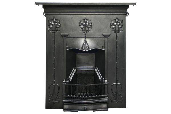 Reclaimed Edwardian Art Nouveau Cast Iron Combination Grate.-0