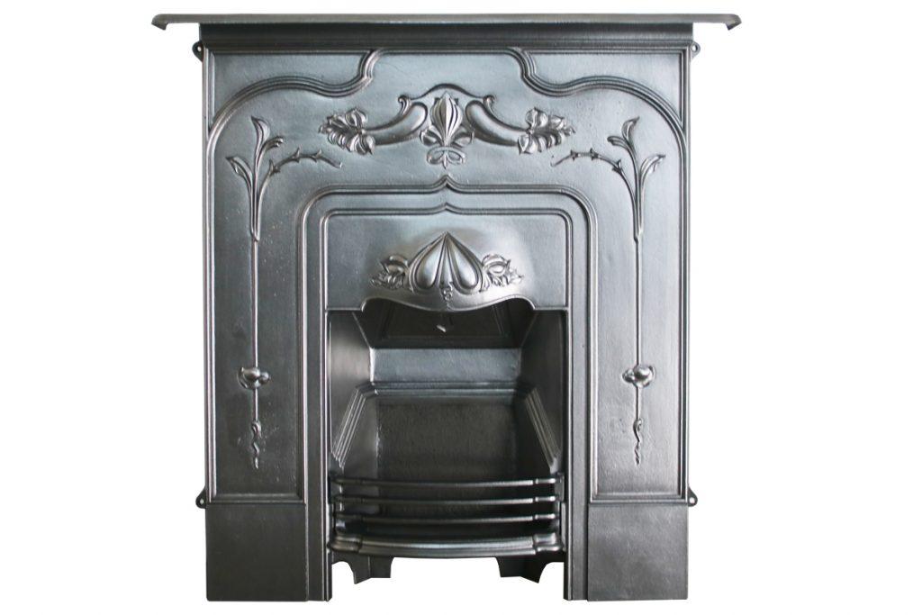 Antique Edwardian Art Nouveau cast iron combination fireplace-0