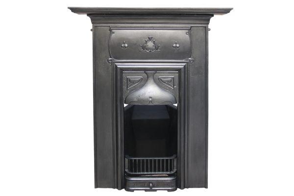 Original tall and narrow Edwardian Art Nouveau cast iron combination grate-0