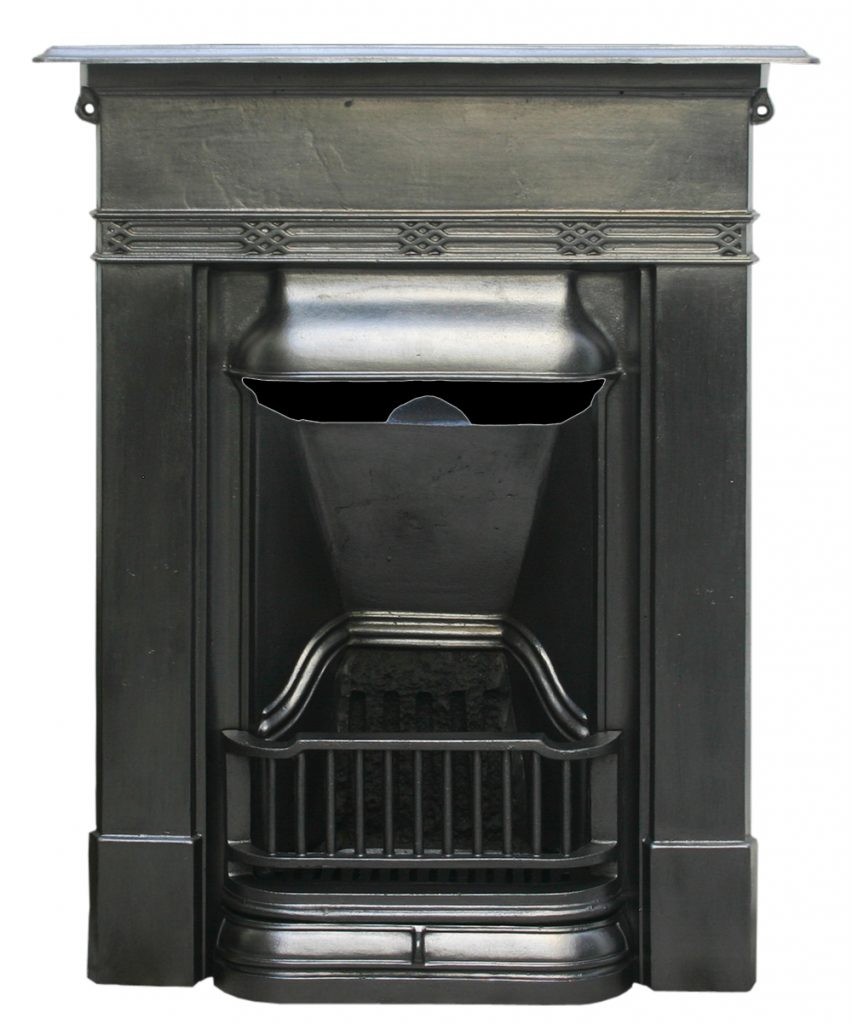 Antique Edwardian cast iron combination fireplace -0
