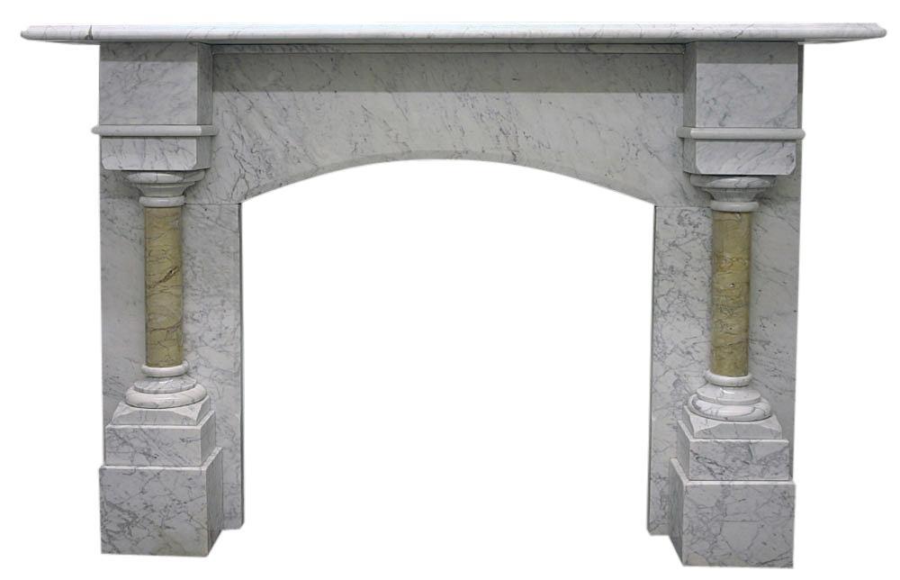 Antique Victorian Carrara marble fireplace surround -0