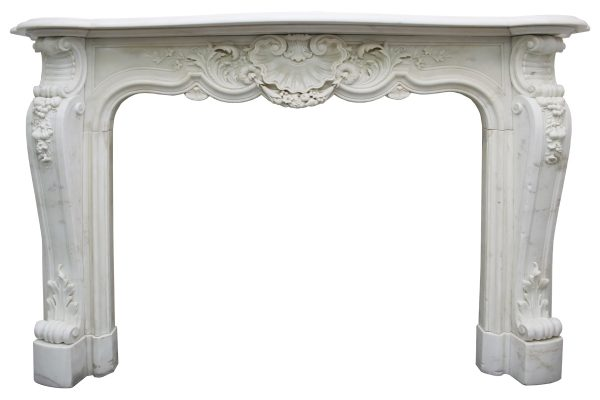 fine quality original 19th century Louis XV style fireplace surround in white statuary marble-0