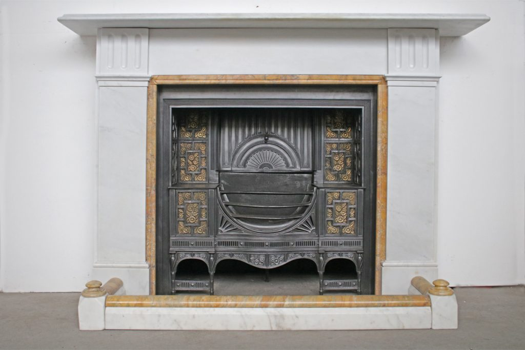 Antique 19th Century Victorian Statuary white marble and Sienna fireplace-0