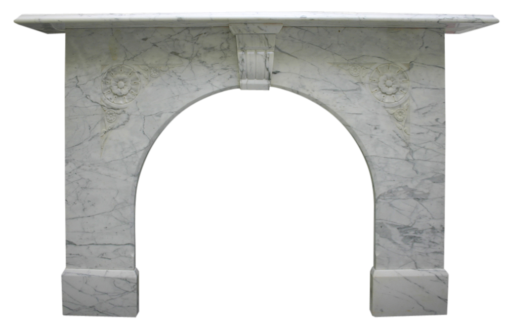 Antique Victorian white Carrara arched marble fire surround-0