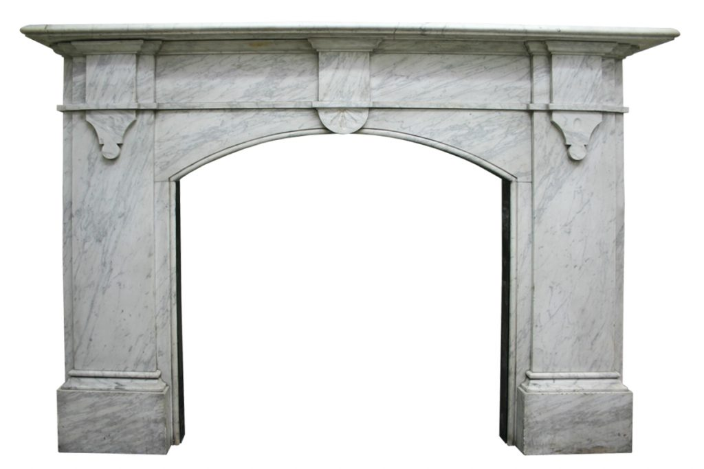 Antique mid Victorian Carrara marble fireplace-0