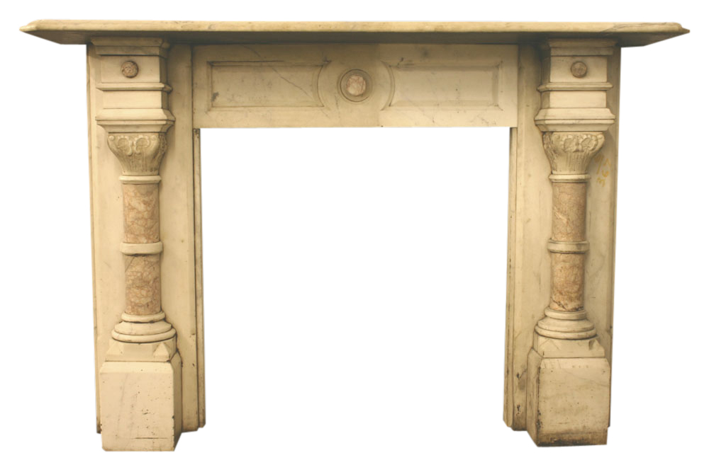 Antique Victorian Carrara marble fireplace-0