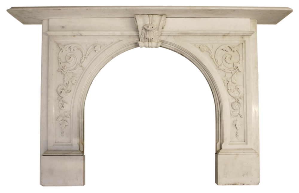 Antique Victorian carved statuary marble fire surround with arched aperture.-0