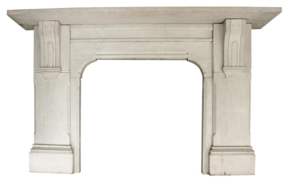 Reclaimed Victorian Statuary marble fireplace.-0
