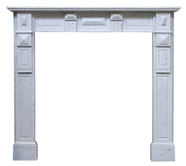 Antique continental Carara marble fire surround-0