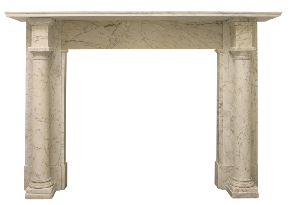 Antique early Victorian Carrara marble fire surround.-0