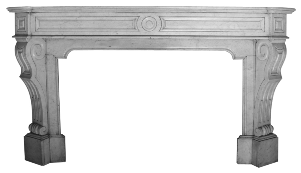 Antique 19th century Continental Carara marble fire surround-0