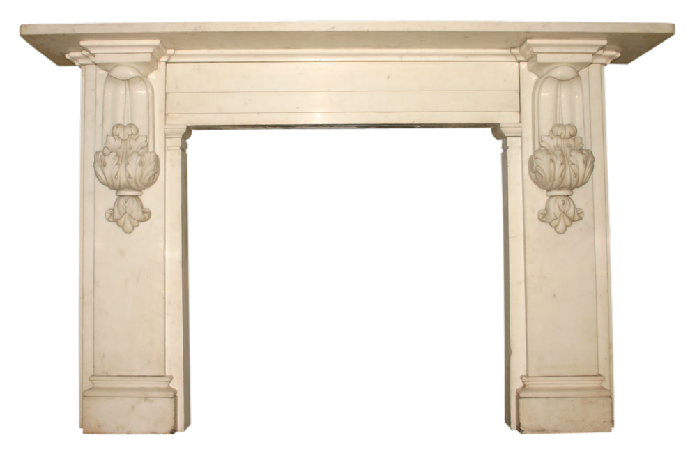Antique Victorian carved statuary white marble fire surround-0