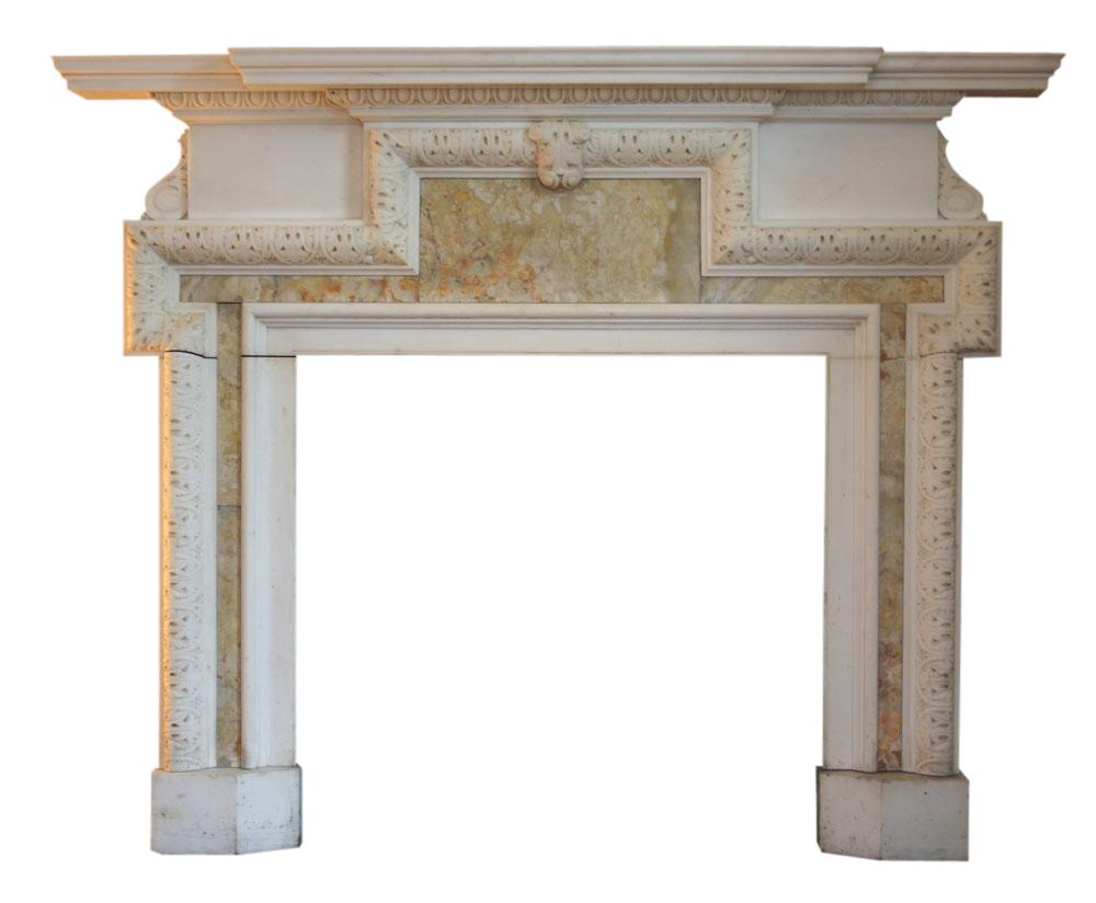 Antique statuary white marble & onyx chimneypiece.-0